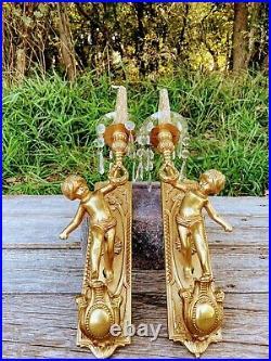 Vintage Lancini Italian Brass Cherub Putti Candle Wall Sconces