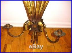 Vintage Large 26.5 Ferrocolor Spain Mid Century double candle holder wall scone