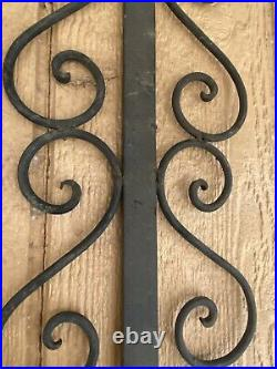 Vintage Large Rustic Gothic Onate Black Wrought Iron 1 Candle Wall Holder 28