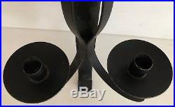 Vintage Large Scroll Cast Iron Steel Candle Holder Candelabra Set 2 Wall Hanging