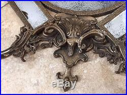 Vintage Large Victorian Style Brass Wall Mirror Sconce with2 Candle Holders, 25 T