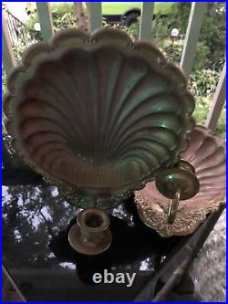 Vintage Lot of 2 11x9 Brass Copper Scallop Shell Wall Sconces Candle Holders