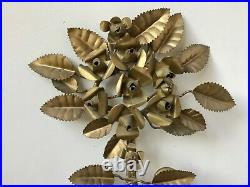 Vintage Mid Century Gilt Metal Toleware Wall Mounted Candle Holder Roses