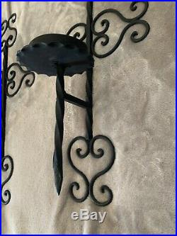 Vintage Mid Evil Style 60s Black Gothic Set Candle Holders Wall Sconces 20