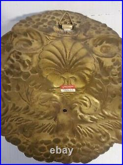 Vintage Mottahedeh Double Baroque Repousse Brass Wall Sconce