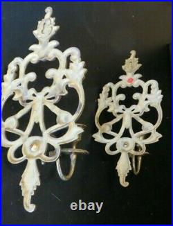 Vintage Ornate Brass Wall Sconce Candle Holder Pair 2 Hollywood Regency Heavy