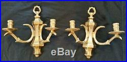 Vintage PAIR Solid Brass Wall Sconces Candle Holders NICE