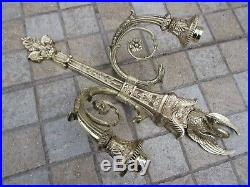 Vintage Pair Brass Wall Double Arm Candle Holder Ornate With Swan And Birds Head