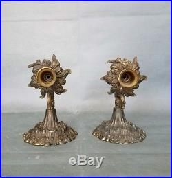 Vintage Pair Elegant metal Wall Candle Holder Sconces Ornate