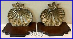 Vintage Pair Mahogany and Brass Shell Mid Century Wall Sconce Shelf