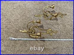 Vintage Pair Of Brass Double Candle Holder Sconces Wall Hanging Made In India