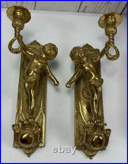 Vintage Pair Solid Brass Cherub Candle Holder Wall Sconces 11 Tall Italy