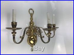 Vintage Pair brass 3 arm electric wall sconces fixtures Wall Candle Stick Holder