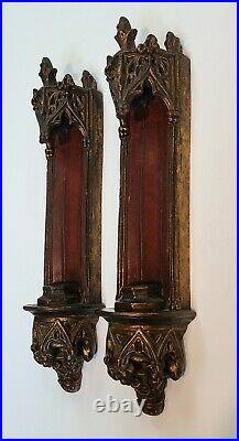 Vintage Pair of BORGHESE GOTHIC REVIVAL Scones Wall Candle Holders