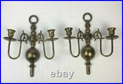 Vintage Pair of Brass Double Arm Candle Holder Light Wall Sconces