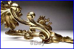 Vintage Pair of Ornate Brass 2-Arm Wall Sconces Candle Holders 19'' High