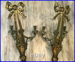 Vintage Pair of Ornate Solid Brass 2 Arm Cherub Candle Holder Wall Sconces
