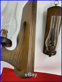 Vintage Pair of Wood Wall Candle Holder's Candelabra Glass Hurricane Sconce