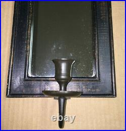 Vintage Primitive Candle Holder Reflector Mirror Rustic Wall Sconce Mirror SUPER