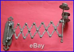 Vintage Scissor Extension Wall Double Candlestick