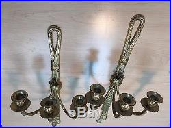 Vintage Solid Brass Pair Of Wall Candle Holders Triple Arm Sconces
