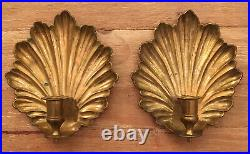 Vintage Solid Brass Shell Wall Mount Candle Sconces Set of 2 (7 x 8) India