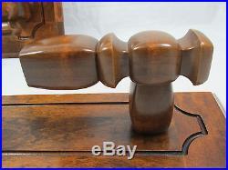 Vintage Solid Dark Brown Wood Set of 2 Candle Holder Wall Sconces Hand Carved