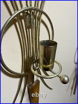 Vintage Teak Wall Scone, Star Burst Candle Holder Set of 2 MCM Mid Century Decor