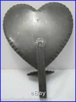 Vintage Tin HEART Shape Candlestick Holder primitive style candle wall sconce