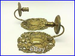 Vintage Used Solid Brass Hanging Wall Sconces Candle Holders Decorative Eagles