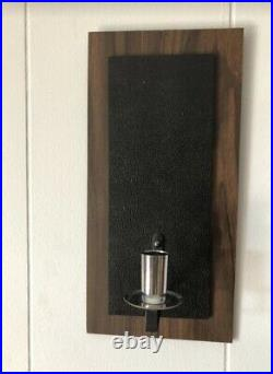 Vintage Wall Clock & Candle Holders Floating Panel Verichron MID Century MCM