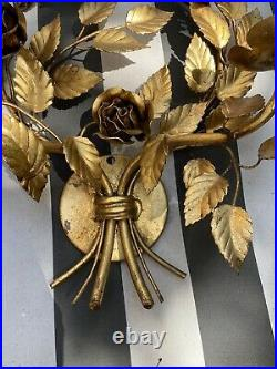 Vintage Wall Sconce Italian Gold Gilt Metal Tole Candleabra Hollywood Regency