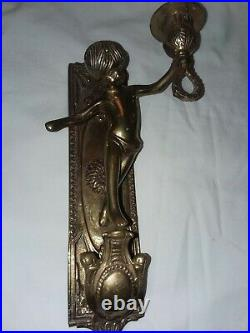Vintage Wall Solid Brass Cherub Cupid Child Candle Holder Wall Sconce Italy