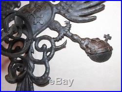Vintage hand tooled wrought iron Austrian eagle shield wall candle holder sconce