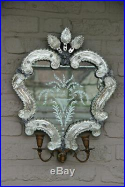 Vintage italian Venetian Glass Wall Mirror with candle holders 1970