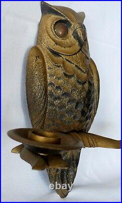 Vintage solid metal OWL bird wall hang candle holder shade, goth light appliance