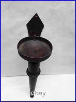 Vintage wood and Iron Gothic pillar candle wall sconce