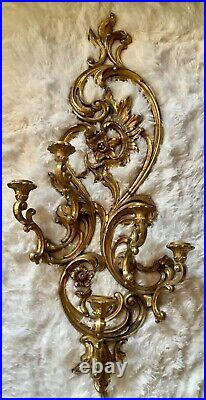 Vtg 1970's Syroco Ornate Rococo Style Gold Wall Sconce 5 Arm Candle Holder