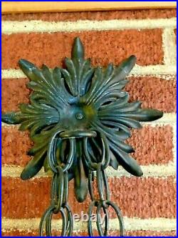 Vtg Black Wrought Iron Hanging Wall Sconce Gothic Spanish Revival Candelabra