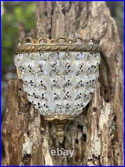 Vtg Bronze & Crystal Metal Sconces Wall Candleholder MCM Hollywood Regency Pair
