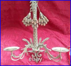Vtg Hollywood Regency Brass Palm Tree 2-arm Wall Candle Sconce Hanging Coconuts
