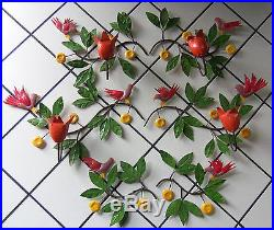 Vtg Italy Metal Wall Art Toleware TULIPS BIRDS LEAVES Candle Holder 6 pc. 90in