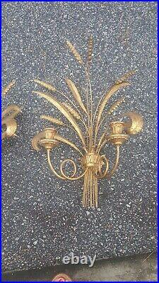Vtg Pair Hollywood Regency Wheat Sheaf Wall Candle Holder Sconces Gold Gilt MCM