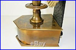 Vtg Pair Tell City Colonial Candle Holder Reflector Wall Sconces Brass & Iron