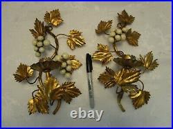 Vtg Regency Set 2 Metal toleware gilded Wall Sconce Candle Holder Italy 10.50 t