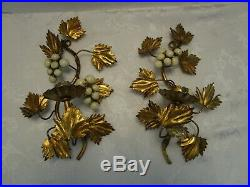 Vtg Regency Set 2 Metal toleware gilded Wall Sconce Candle Holder Italy 10 ½T