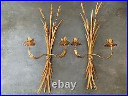Vtg Set 23 Hollywood Regency Italy Gold Wheat Sheaf Wall Candle Holder Sconces