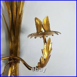 Vtg Set Hollywood Regency Italy Gold Wheat Sheaf Wall Candle Holder Sconces 24