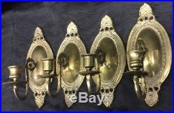 Vtg Set of 4 Matching Solid Brass Wall Sconces Candle Holder Sconces Regency