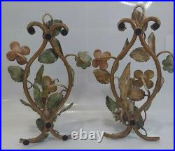 Vtg TOLE PAIR PAINTED METAL WALL SCONCES FLOWER CANDLEHOLDERS Floral Italian